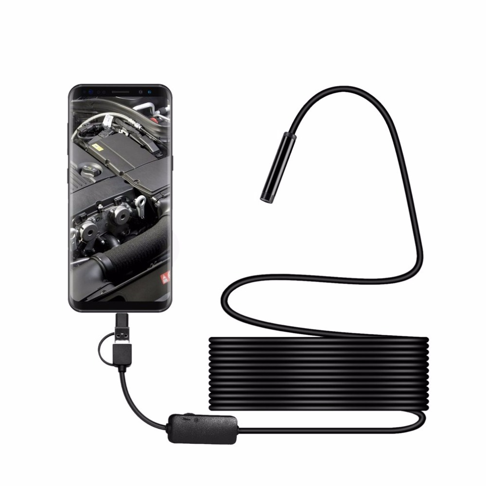 Negro Impermeable Longitud 5.5mm 6 LED de la c/ámara de v/ídeo de grabaci/ón endoscopio endoscopio Inspecci/ón AN99 5M para Android para PC