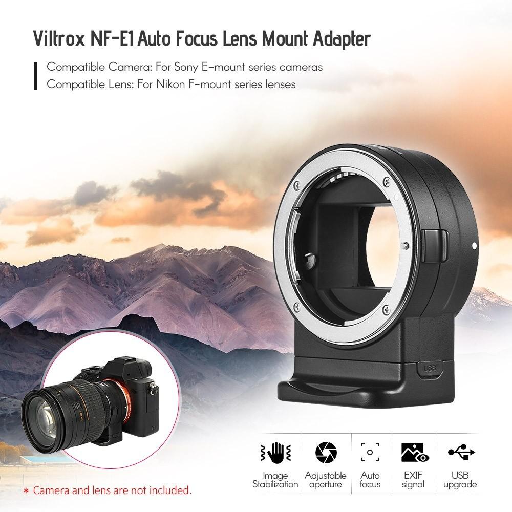 Viltrox NF-E1 Adaptador de Montagem de Lente de Foco Automático para Lente da Série Nikon F-Mount para Câmera Sony E-Mount