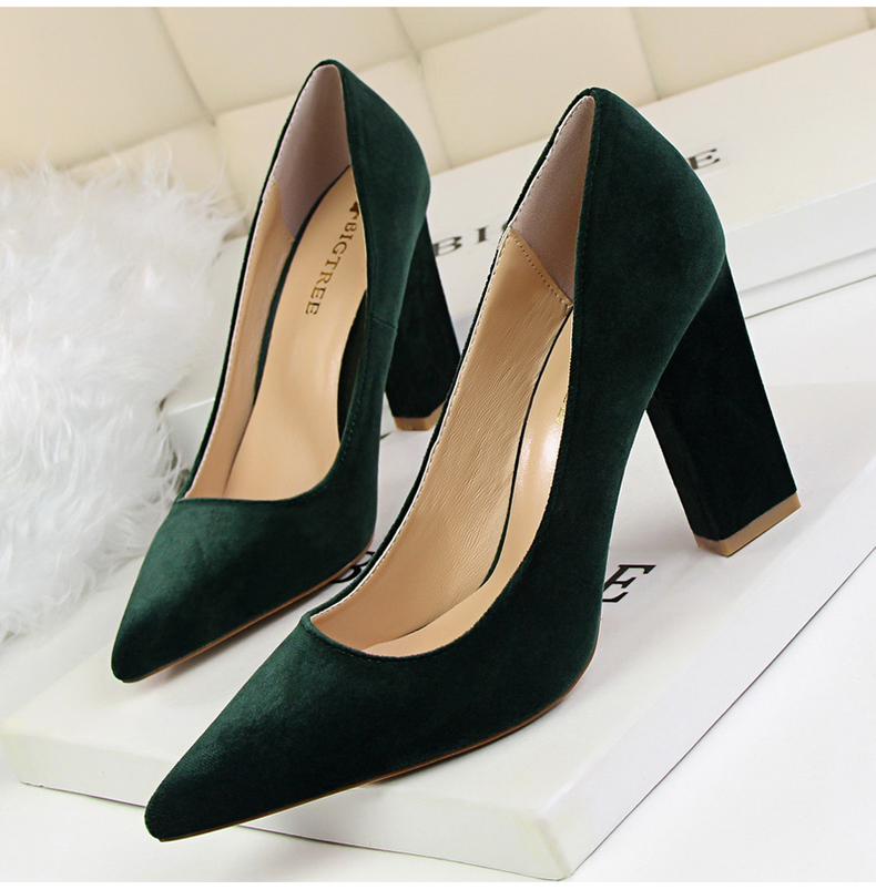 Women\`s Pumps Shoe Slip-On Wedding Women Shoes High Heels Sandals Silver Office Lady Shoes Woman High Heel Mules Square Heels (3)