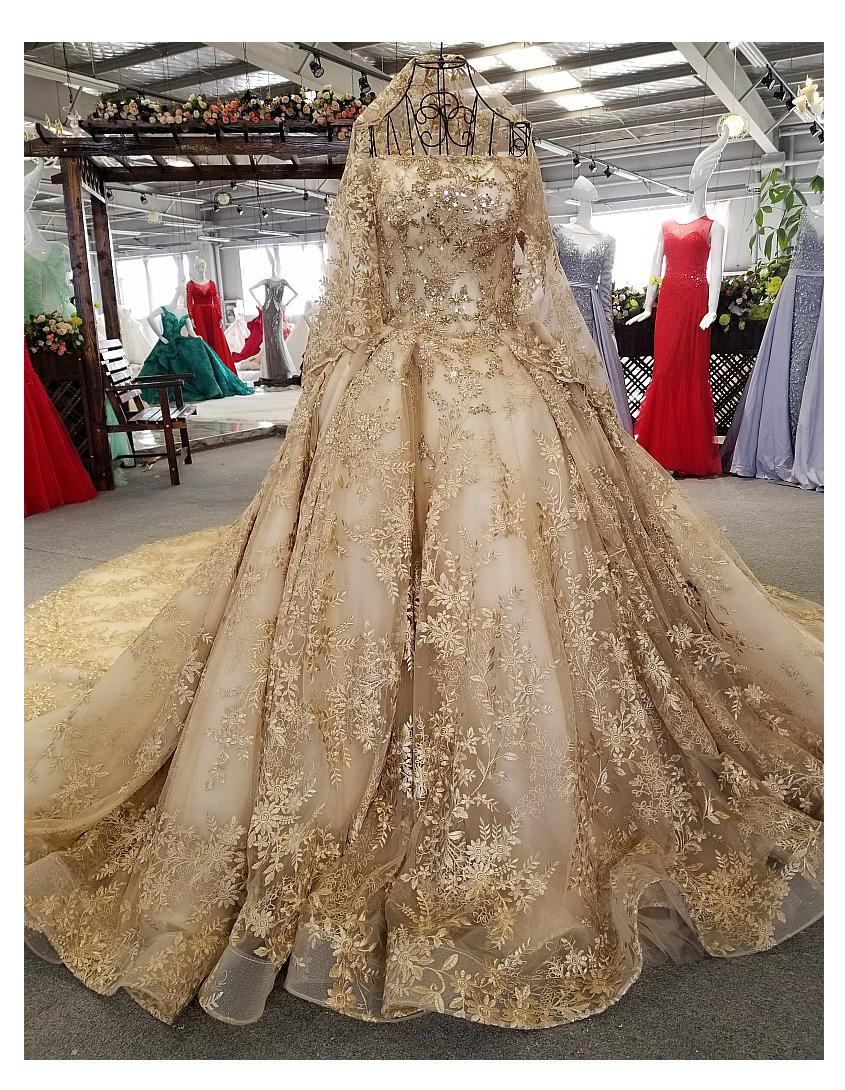 20 High-End-Zughochzeitskleid elegante Ballkleid Hochzeitskleid eine  Verbindung der langen Hülse goldenen Brautkleid Brautkleider