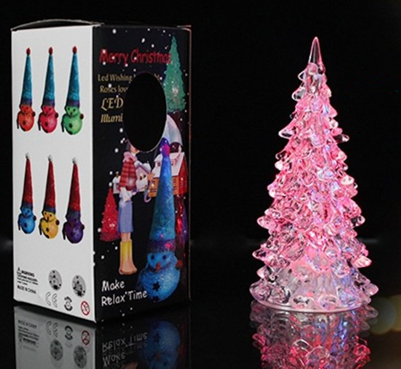 MINI Christmas Tree Led Lights Crystal Clear Colorful Xmas Trees Night Light New Year Party Decora Flash Bed Lamp Ornament Club Cosplay Hot