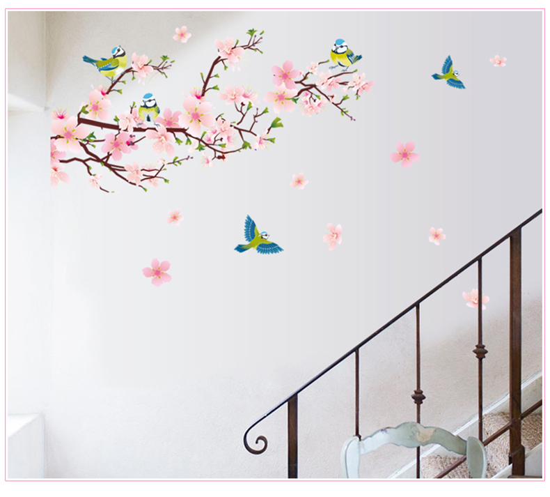 Hot Sale Romantic Peach And Swallow Wall Sticker Removable Pvc Room Decal Art Diy Decorpopular Stickers Removable Wall Stickers For Kids Rooms