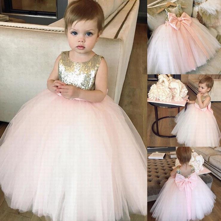 Pageant Kids Gown Pink Tulle Golden Sequin Ball Gown Flower Girl Dresses For Wedding Girl's Floor Length Child Party Birthday Dress ytz284