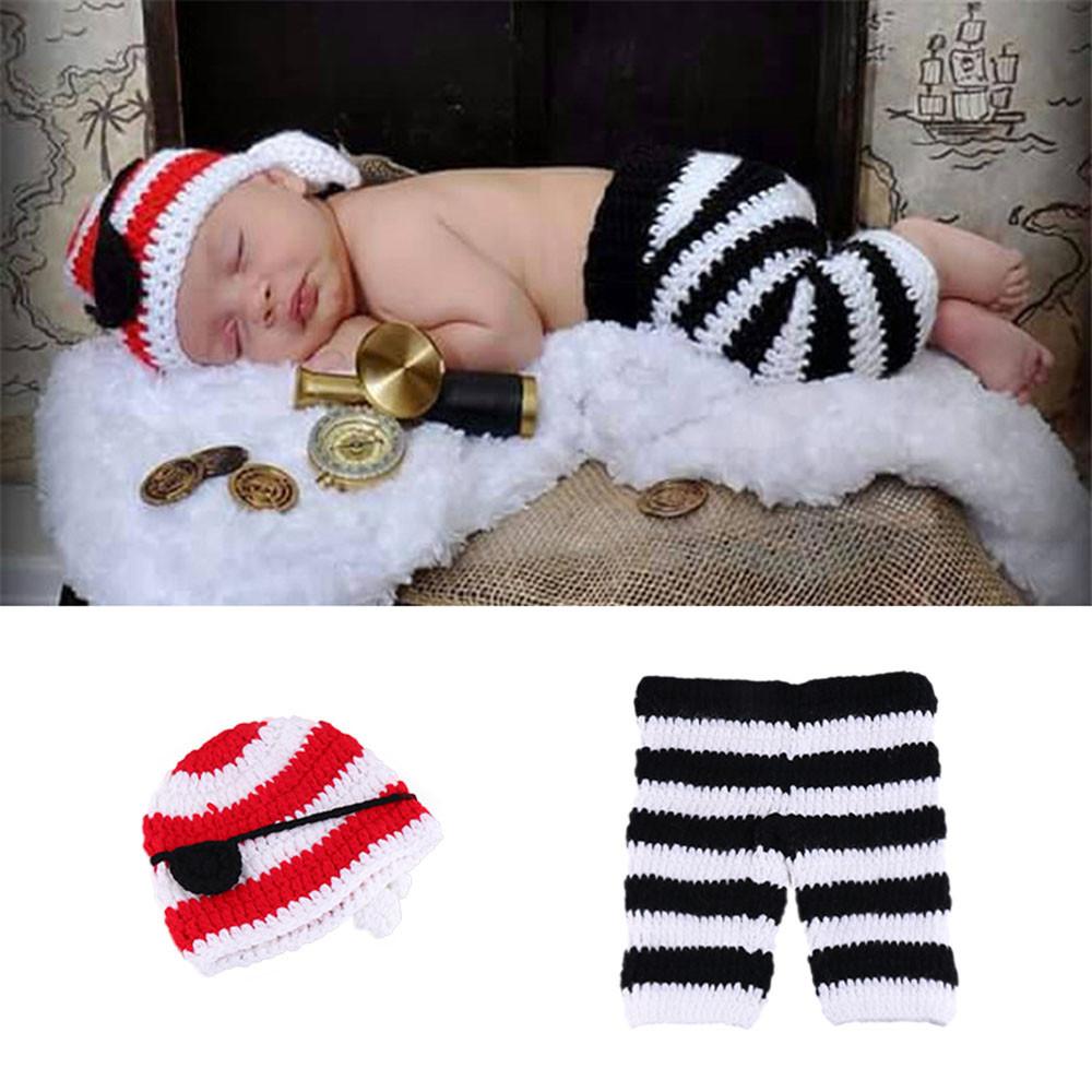 Bebé recién nacido apoyos de la foto bebés niños niñas lindo hecho a mano de punto de ganchillo pirata disfraz bebé foto fotografía traje recién nacido
