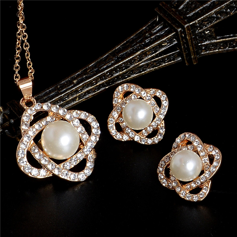 WITH FREE GIFT//Crystal flower Pearl Long Necklace Womens Fashion 35