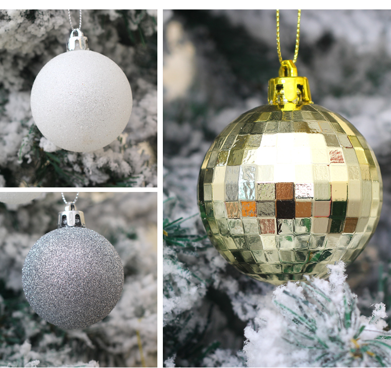 07 inhoo 50pcsset White gold balls Christmas Tree Decoration Ball Ornaments Pendant Accessories Decor For Christmas Home Party