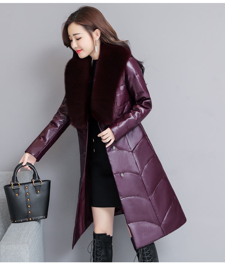 7253 Genuine Leather Jacket Women 2018 Winter Warm Down Faux Fur Coat Plus Size Long with Fox Fur Collar Elegant Luxury Coat Women 3