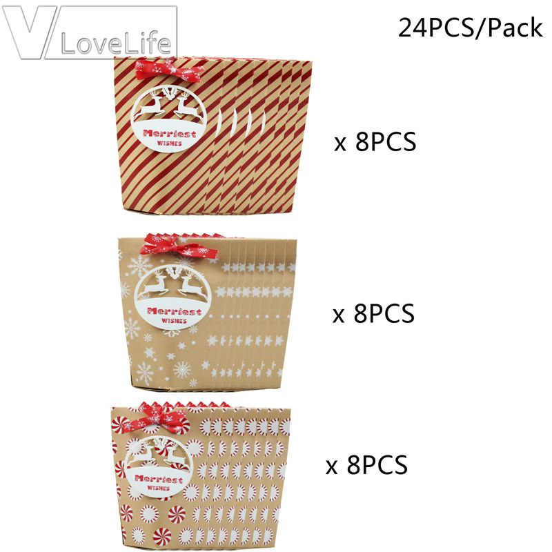 Christmas Candy Gift Boxes Snowflakes&Deer Guests Packaging Boxes Cookie Bag Gift Kraft Bag Kid Christmas Party Favors