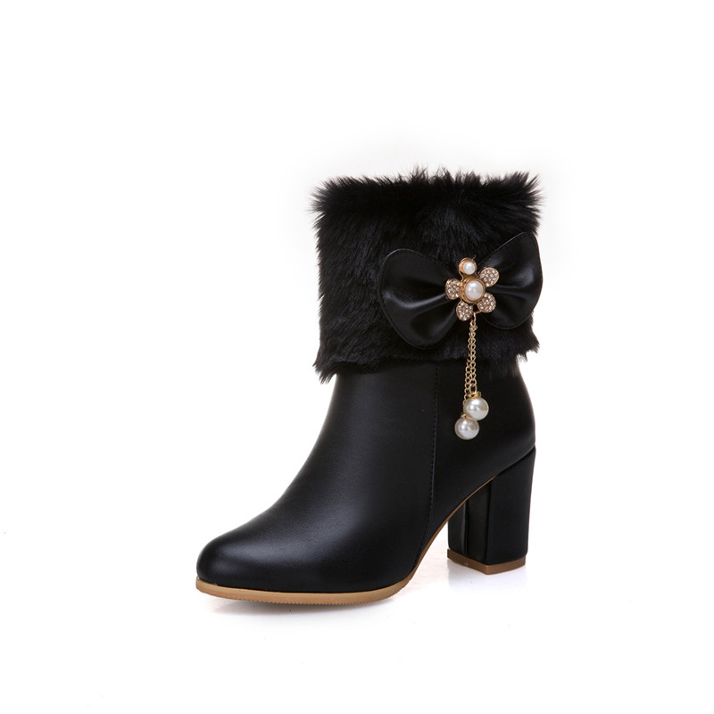 wholesale Womens Fashion Ankle Boots for Women Bowtie Chains Bead Ladies High Heels Shoes Party Wedding Booties Plus Size Bootie
