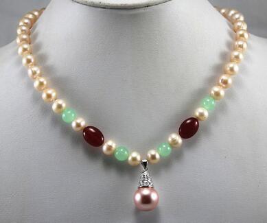 12MM lila Südsee Shell Perlenkette 46CM