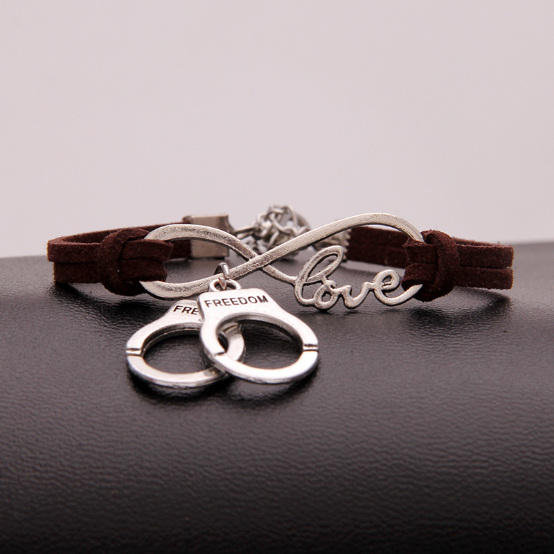 AFSHOR Hot Stylish Christmas Gift Unique Police Handcuffs Pendant Love Infinity Charm Leather Bracelet Women Handcuffs Wrist Jewelry