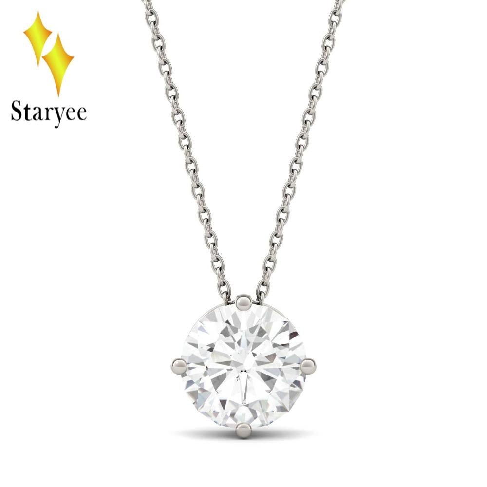 1//2ct Solitaire Rond Diamant Or Blanc Nouveau Pendentif Femme Collier