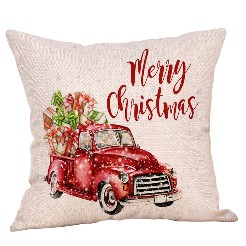 Weihnachten Santa Schlitten Leinen Kissenbezug Kissenbezug Sofa Auto Bett Dekor