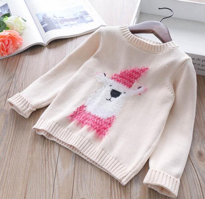 Girl kids clothing cardigan sweaer round collar cartoon Animal design long sleeve knitted sweater girl pullover sweater