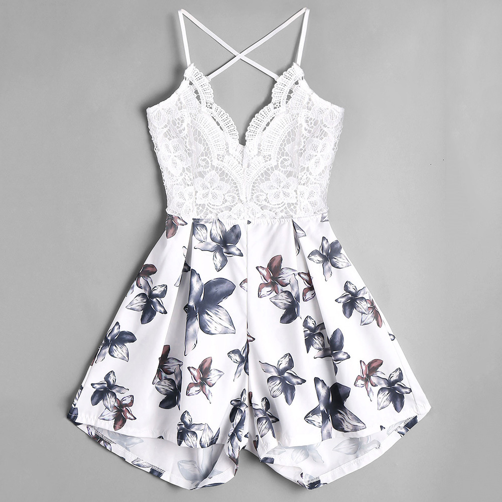 Kenancy Women Lace Panel Floral Romper Backless Spaghetti Strap Criss Cross Patchwork Playsuits Summer Overalls Jumpsuits Y1891806