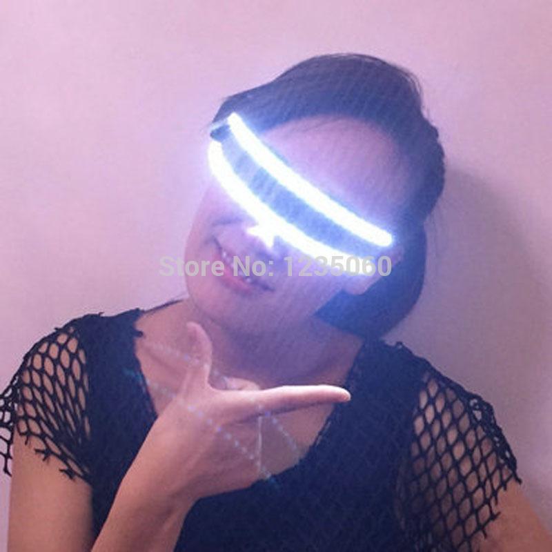 Новая мода рождественская вечеринка светодиодные очки, лазерный сценический реквизит LED растущий свет производительности сценический костюм одежда