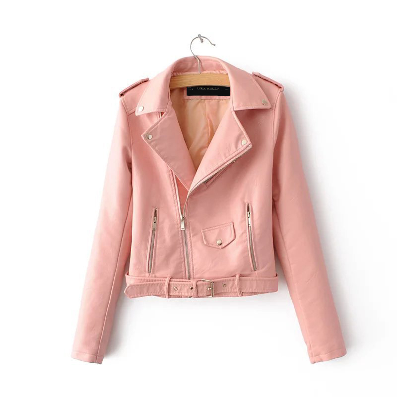 2017 Lika S-XL New Spring Fashion Bright Colors Good Quality Ladies Basic Street Women Short PU Leather Jacket FREE AccessoriesY1882402