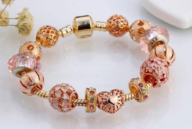 Fashion High Quality Rose Charm Bracelets Charms Rosary Bracelet European Diy Bangle Bracelets Women Gift For Lovers Girlfriends
