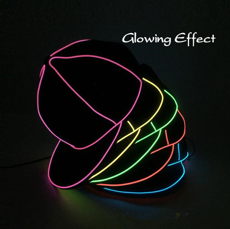 EL Wire Cap Neon LED Light Hats Glow Costume Party Luminous Cap Fluorescent Dancing Party Hats OOA5645