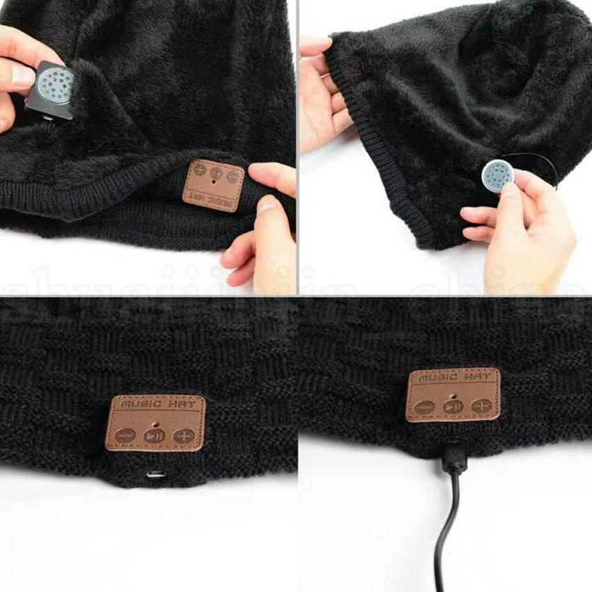 Wireless Bluetooth Thick Knit Beanie Headphone Earphone Microphone Winter Trendy Cap Smart Outdoor Hats OOA5689
