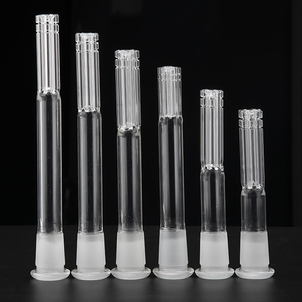 Glass Downstem With 6 Armed Connector 14mm Female To 18mm Male 14F-18M Glass Tube Frosted Joint Dropdown Glass Water Pipe