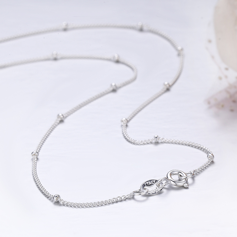 35-80cm Slim Thin Pure 925 Sterling Silver Beads Curb Chain Choker Necklaces Women Girls Jewelry kolye collares collier ketting Y1890705