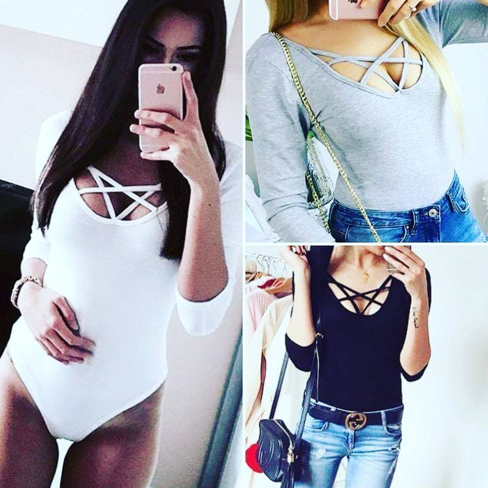 Women Clothes Sexy Long Sleeve Bodysuit Stretch Ladies Leotard Body Tops Jumpsuit New Women Clothes
