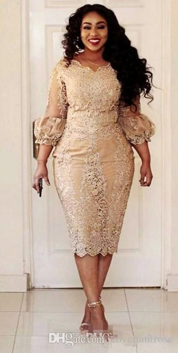 Vintage Champagne Plus Size Mother of the Bride Dresses Lace Tea length 2018 Modest Long Sleeve Mother of Groom Formal Occasion Dress