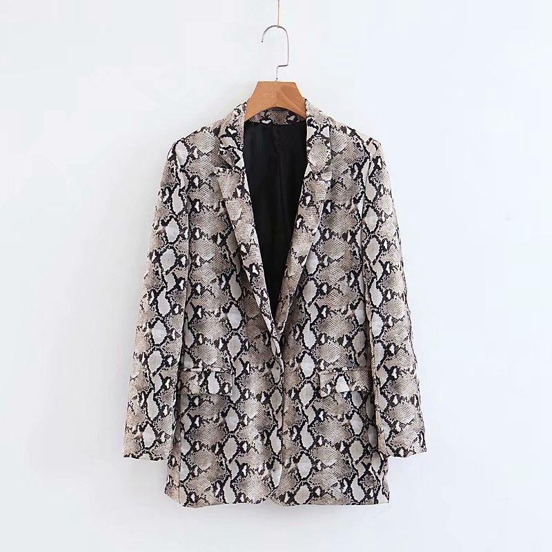 Womens Blazers Long Sleeve Snake Skin Print Long Style Hidden Breasted Ladies Blazers Women Streetwear Outwear S M L (14)