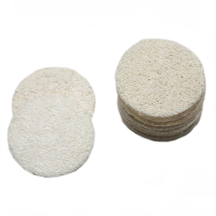 Natural Loofah Facial Pads Loofah Disc Makeup Remove Exfoliating Face Loofah Pad Small Size Luffa Loofa