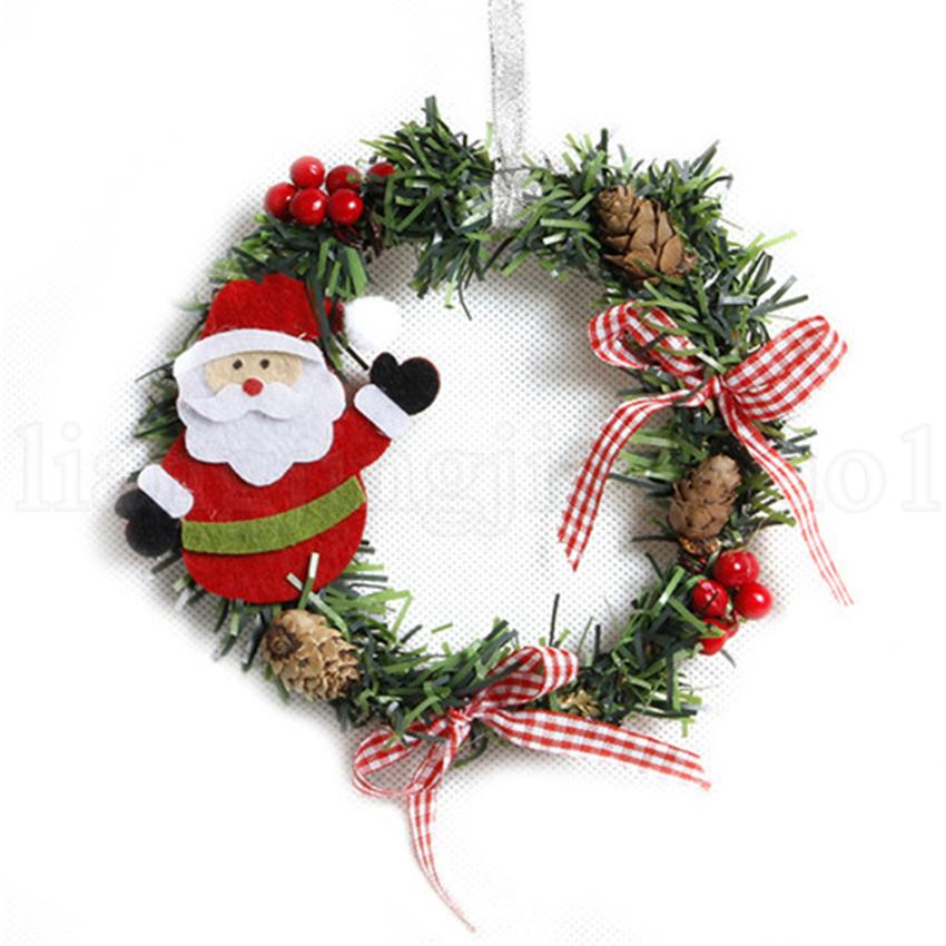 Christmas Snowman Deer Garland Art Wreath Decorazione Rattan Reed Wreath Ghirlande Home Party Decorazioni natalizie OOA5813