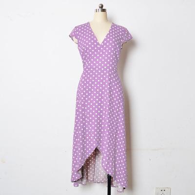 Women V-neck Sexy Dress Casual Polka Dot Skirt Fits Ladies Beach Long Dresses Asymmetrical Folded Colorful Dress