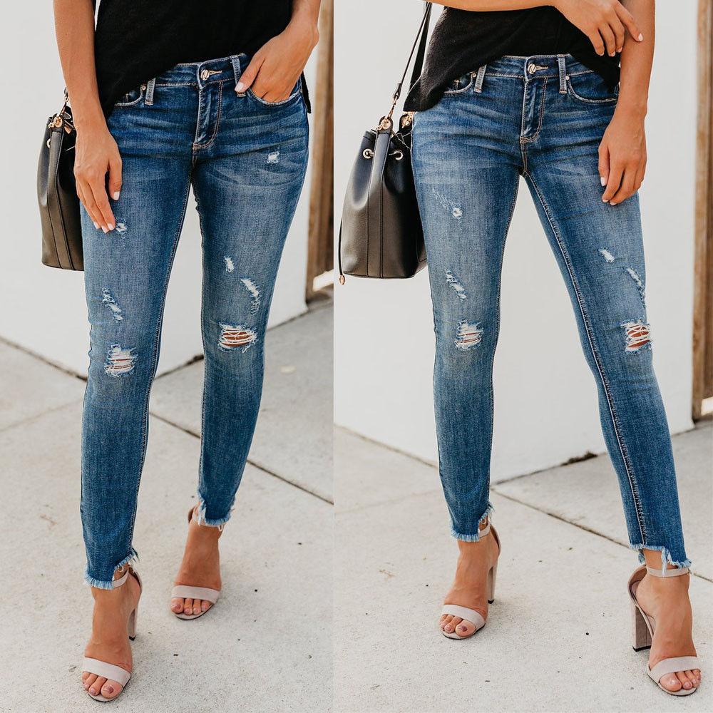 Da Donna Metà Jeans Skinny A Vita Alta Jeggings Donna Strappato Ginocchia Jeans Pantaloni Lunghi