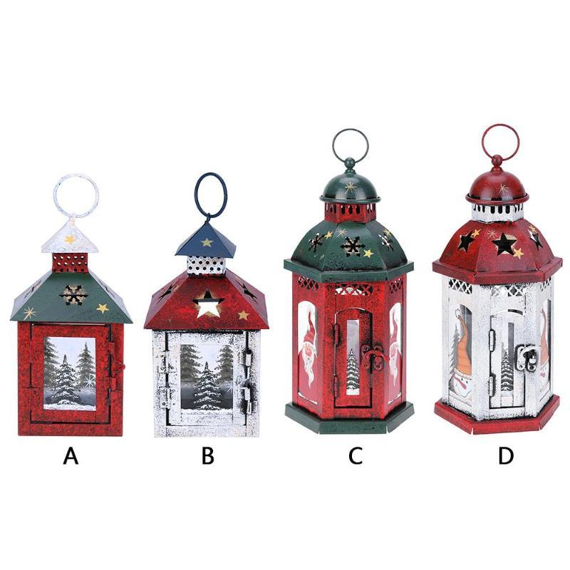 Vintage Christmas Hanging Candlestick Candle Holders Lantern Decor Ornament Christmas Decorations for House Y18102609