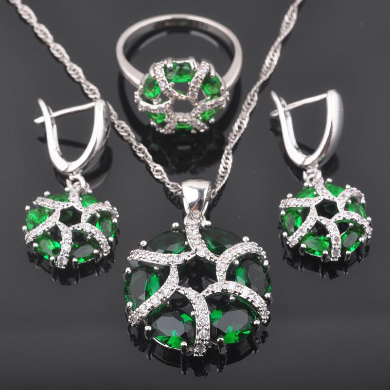 Ensembles de bijoux en argent 925 avec des zircons verts pour des boucles doreilles//pendentif//collier//bagues