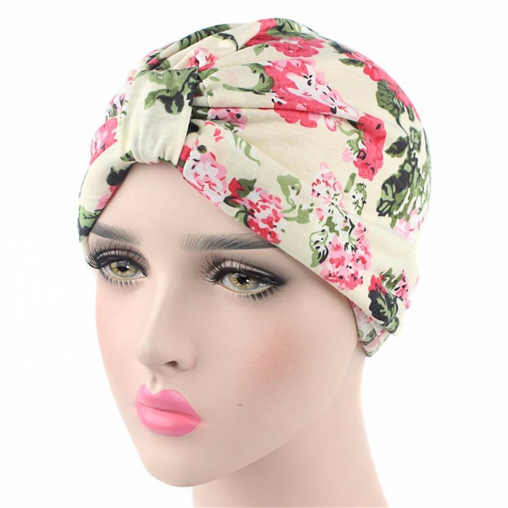 2018 neuer heißer Verkauf / neue Marken-Art- und Weisefrauen-moslemischer indischer Hut-Strecken-BlumenCemo Turban-Hut-Kopf-Verpackungs-Kappen-Damen-Kopftuch