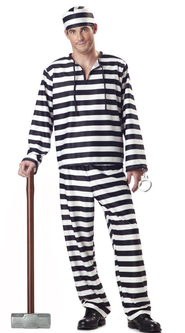 Homme prisonnier combipantalon orange Prisonnier Costume Halloween Robe Fantaisie Noël