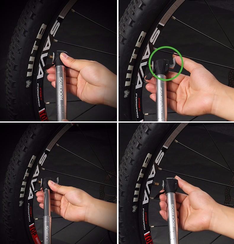32ROCKBROS 100Pis Aluminum Bidirectional Unidirectional Bicycle Pump Cycling MTB Bike Presta & Sc