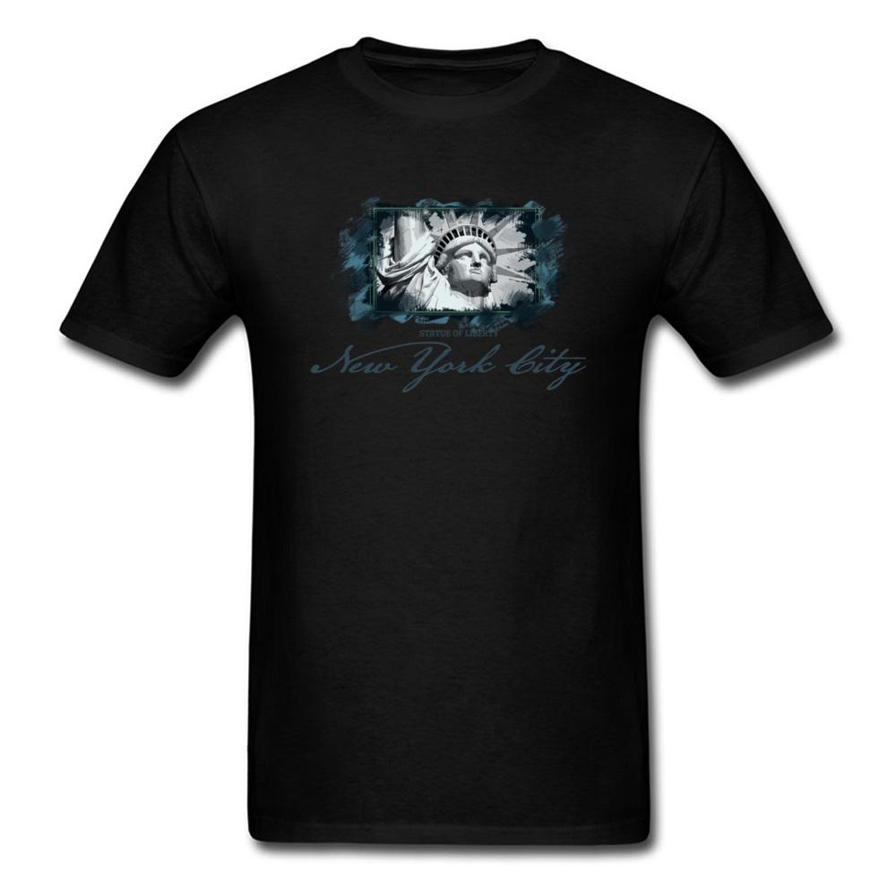 Tops Shirts Birthday Top T-shirts Summer Autumn 2018 New Fashion Group Short Sleeve 100% Cotton O Neck Men T Shirts Group New York City Statue of Liberty black