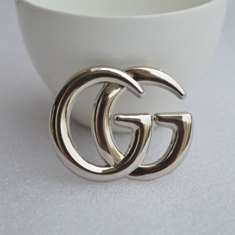 Luxury Exquisite Double Letter G Brooch For Women Statement Brand Fashion Brooches Pin Clothes Accessories Jewelry Gift