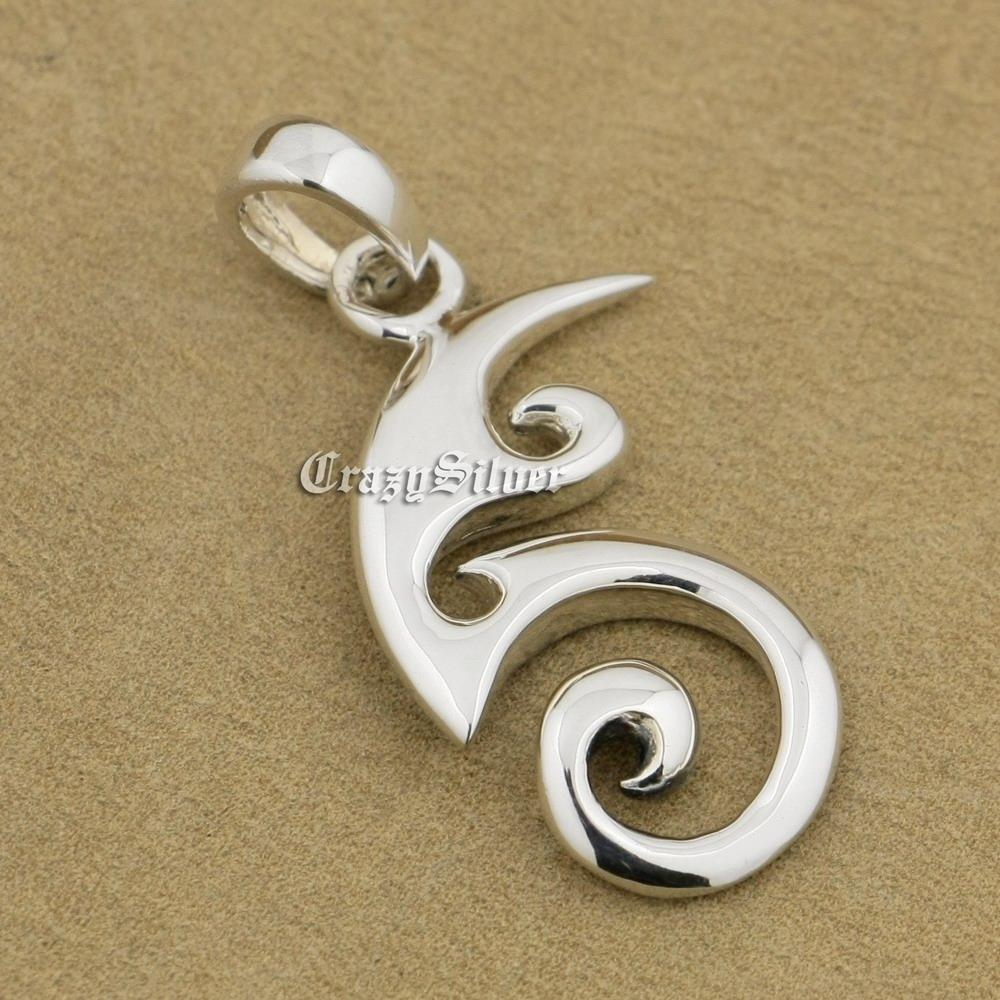 LINSION 925 Sterling Silver Spiral Fire Mens Biker Punk Pendant 9V017 Stainless Steel Necklace 24 inches