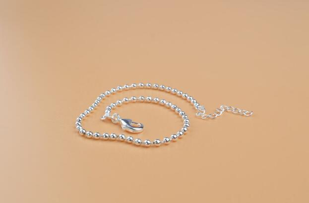 2018 hot sales plating 925 silver Gold 2mm Round bead chain Bracelet Foot chain Foot ornament 21.5cm+3cm girl woman Fashion ornaments