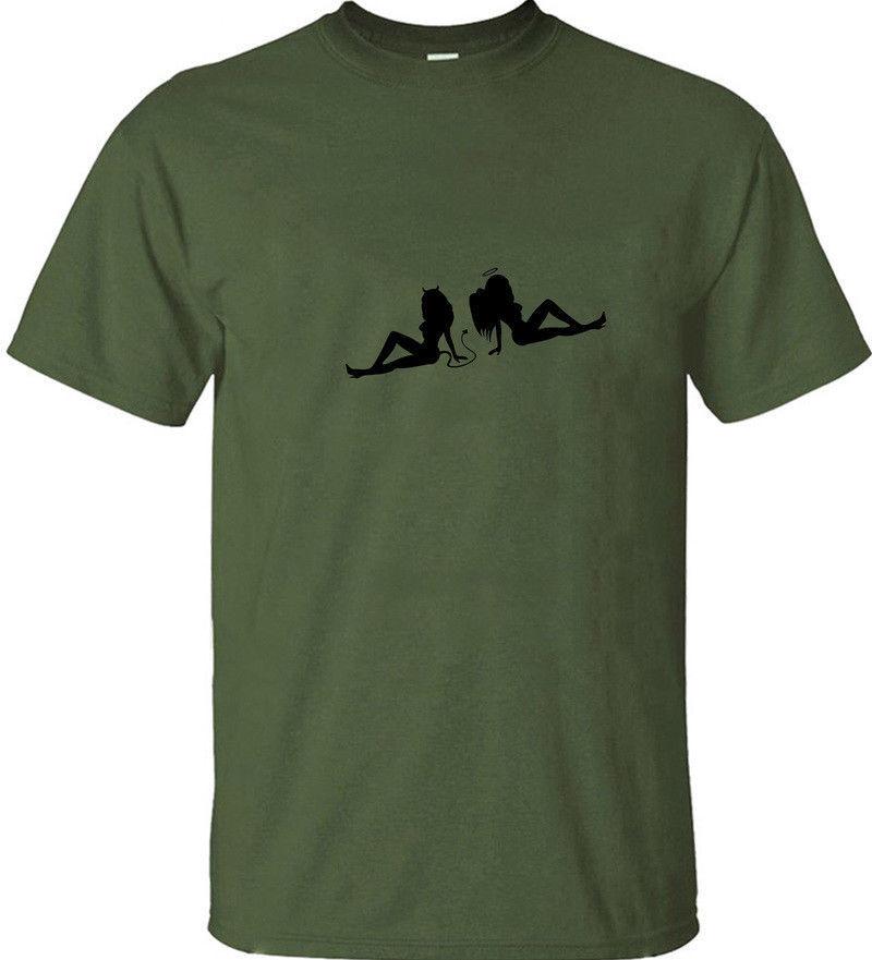 Angett Дьявол сексуальная девушка весело личности графический футболка цветочный принт мужчины футболка Футболка горячая новая мода топ бесплатная доставка рубашка