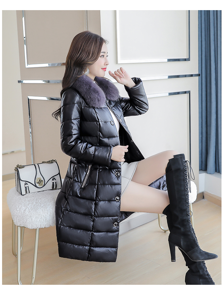 8300 Plus Size Faux Fur Collar Leather Jackets Women Slim Long Warm Down Fur Coat Elegant Top Quality Manteau Femme Hiver 5xl 2018 11