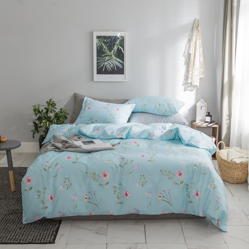 Pink Blue 100%Cotton Cute Bedding set Queen King size Fitted Bed sheet set Duvet cover Bed set Pillowcase Double size
