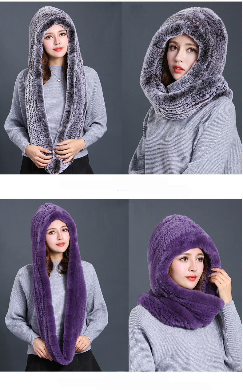 Hat Women 2017 New Knitted Real Rex Rabbit Fur Hat Hooded Scarf Winter Warm Natural Fur Hat With Neck Scarves (13)