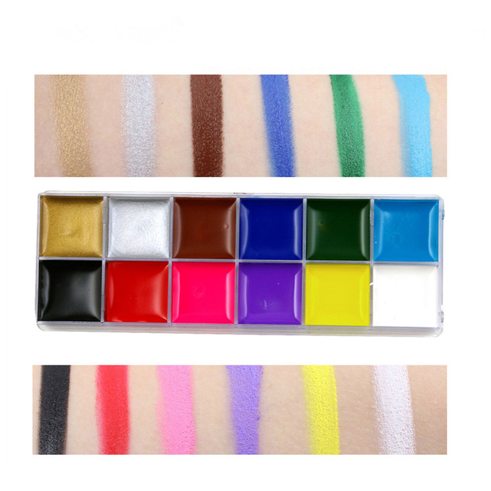 12in1 Flash Colors Face Body Oil Painting Art Make Up Halloween Party Fancy Dress Artist Palette