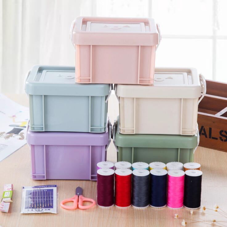 Needle Threads Box Set Portable Mini PP Sewing Box Storage Box Home Sewing Kits OOA5807