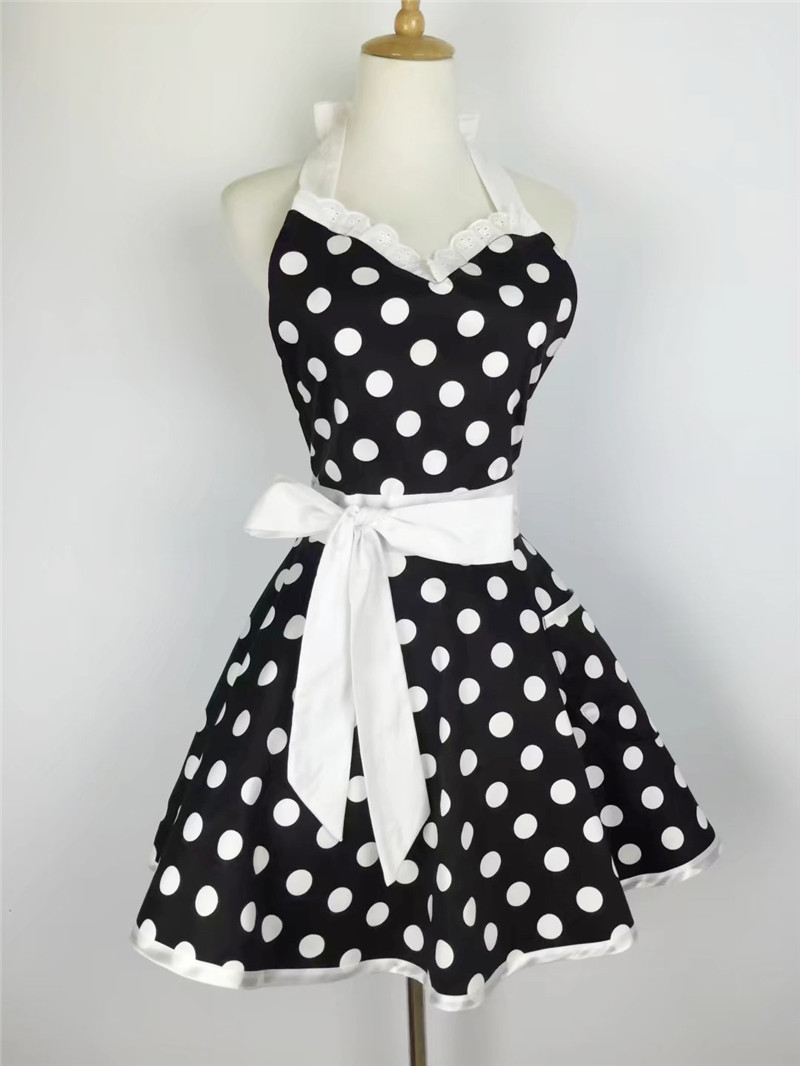 Xiumood Retro Cute Sexy Waiter Apron Dress With Pocket Cotton White Lace  Black Polka Dot Kitchen Chef Cooking Aprons For Woman Black Apron
