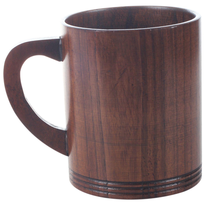 Taza de Caf/é de Madera Hecha A Mano Taza de Bebida Taza de Camping Taza de T/é Taza de Vino para Cerveza//Jugo//Leche//Vino//Bebidas Calientes Taza de Madera Maciza Natural Con Mango